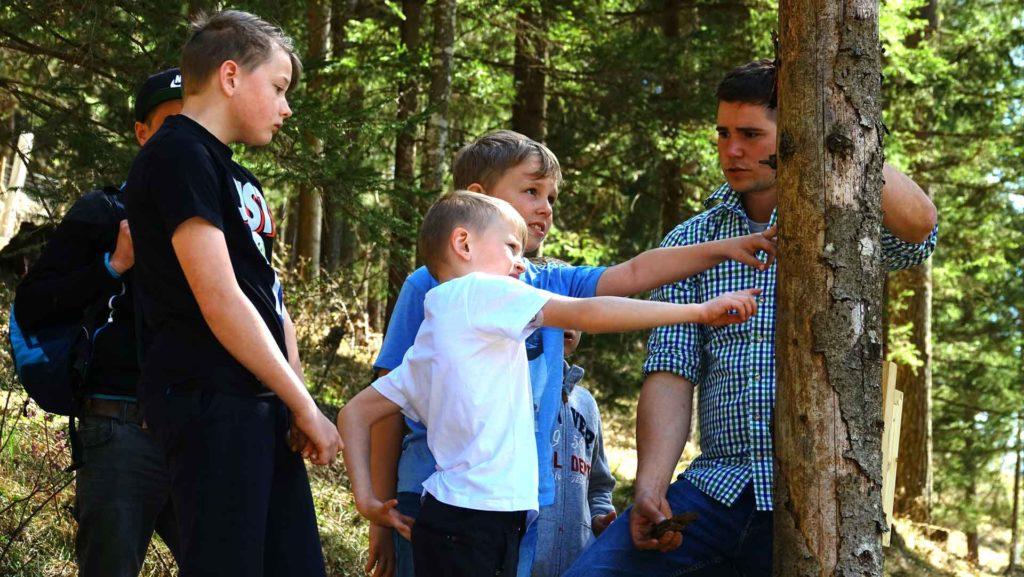 jungbauer stefan schwaighofer beim waldworkshop mit vier kindern